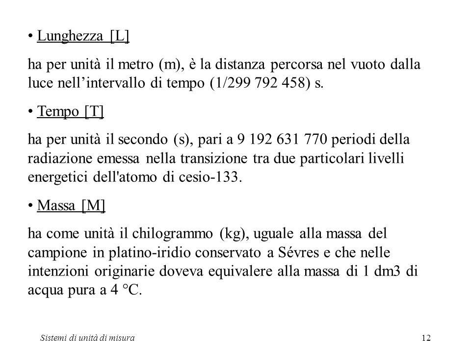 • Lunghezza [L] ha per unità il metro (m), è la distanza percorsa nel vuoto dalla luce nell'intervallo di tempo (1/299 792 458) s.